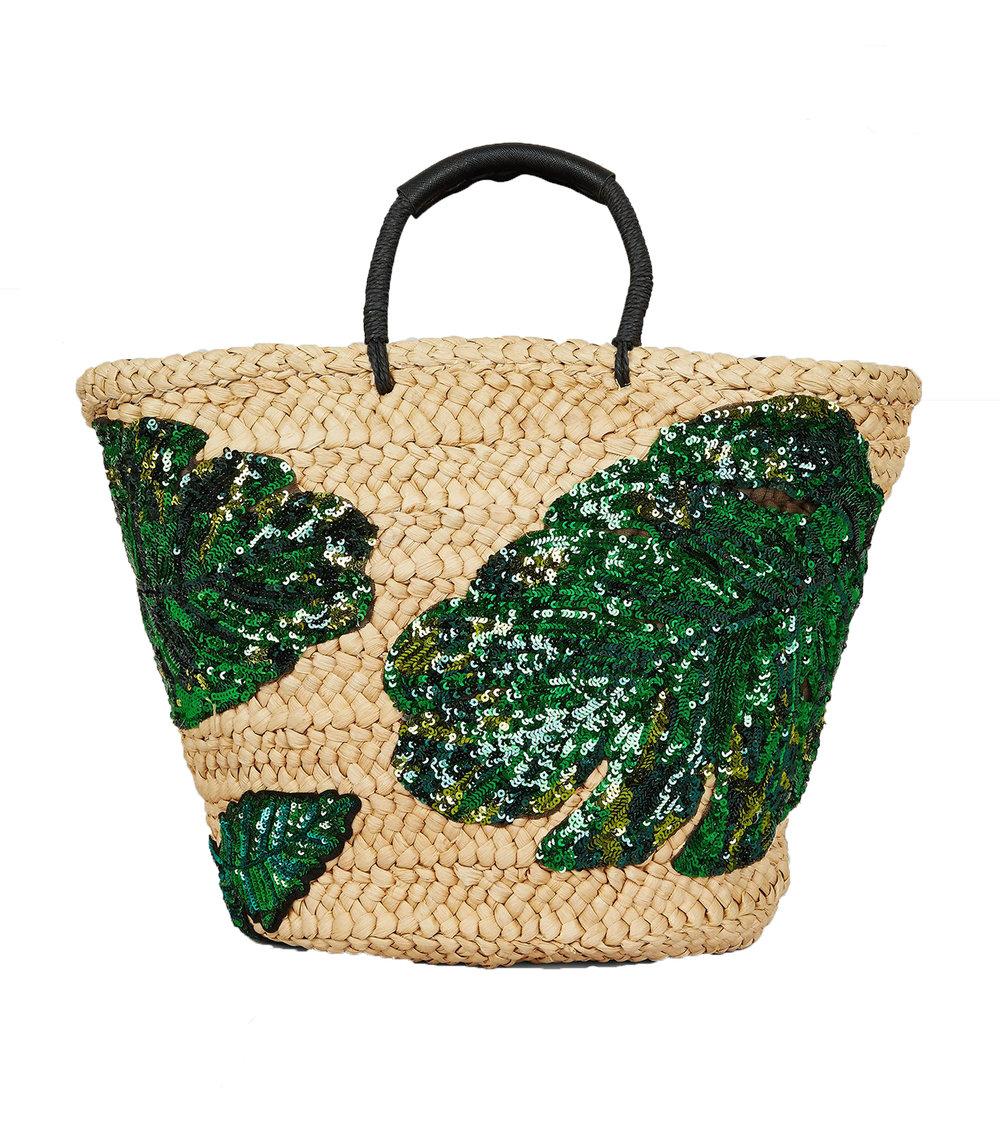 New Look Green Sequin Palm Leaf Basket Bag