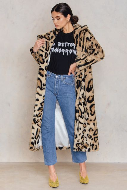 NA-KD Leo Faux Fur Coat