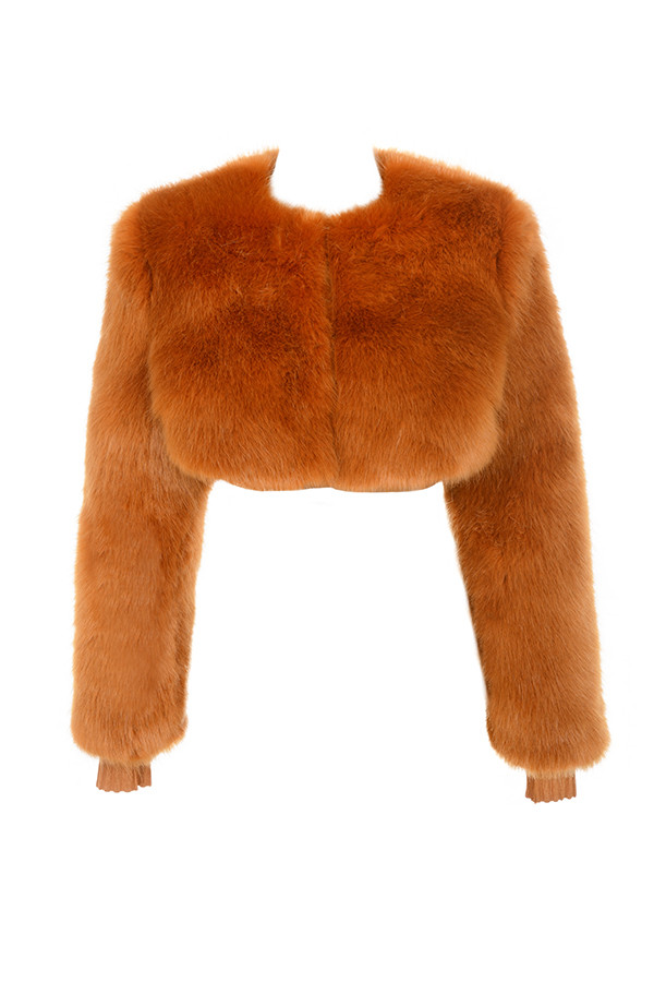 HOUSE OF CB CORVELLE GINGER CROPPED FAUX FUR JACKET