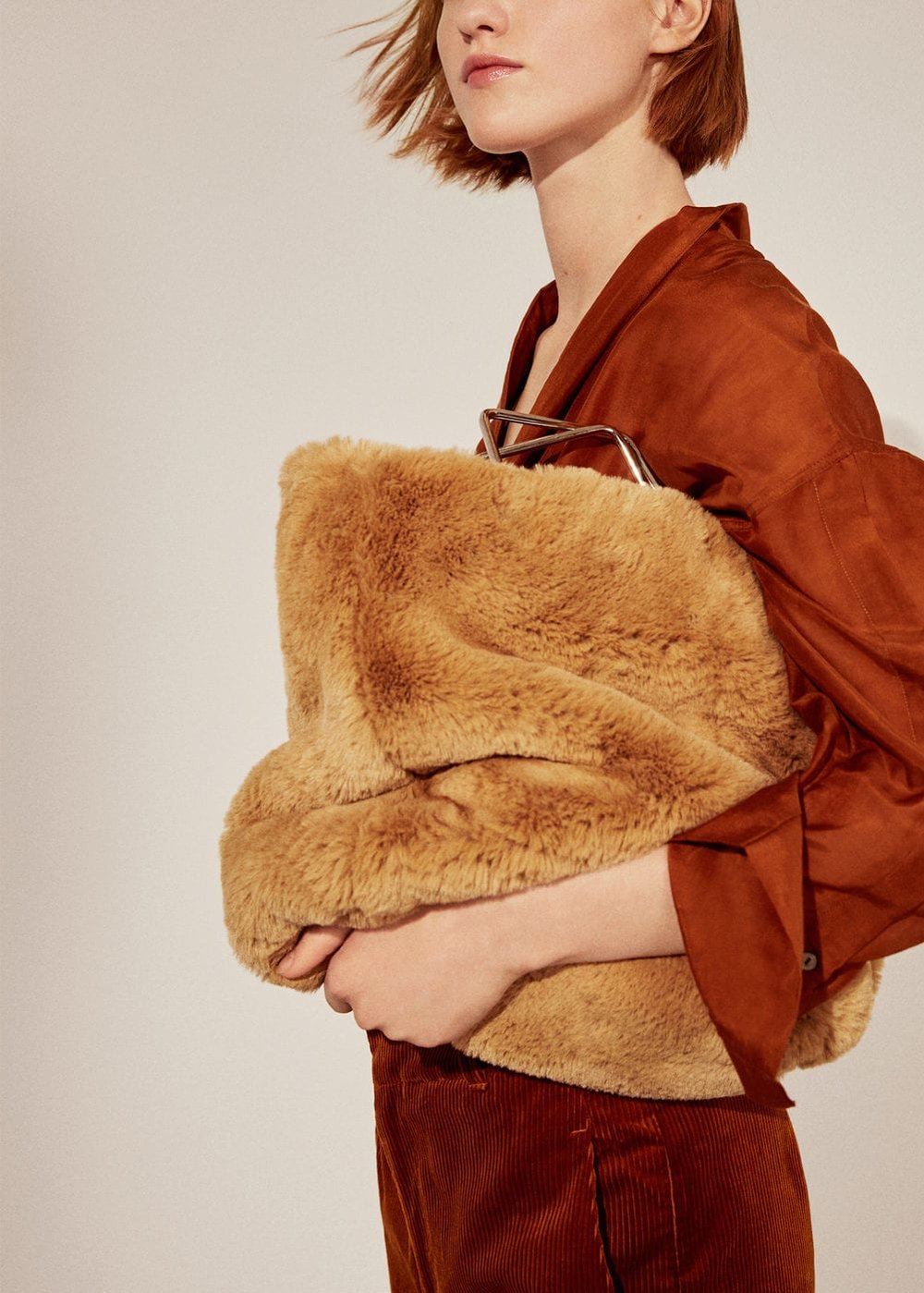 MANGO Metallic Handle Faux-Fur Bag