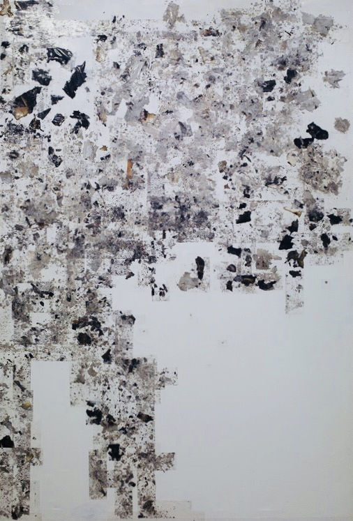 Composition 2, 2015 Burnt papers, ashes and transparent tape 148 x 99,5 cm Signed at the back