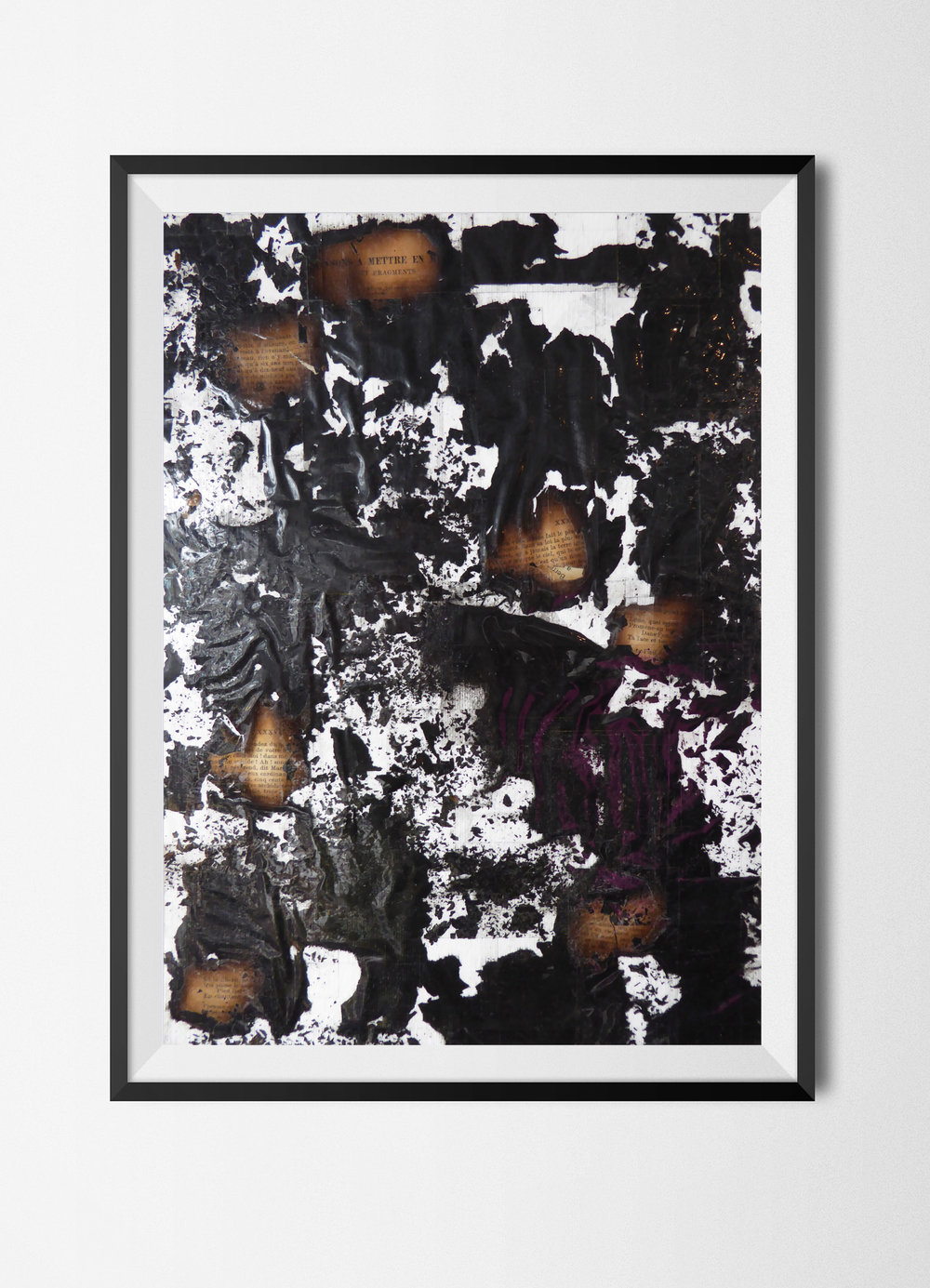 Fragments 9, 2015 Burnt papers and tape on paper 42 x 29,7 cm Signed at the back