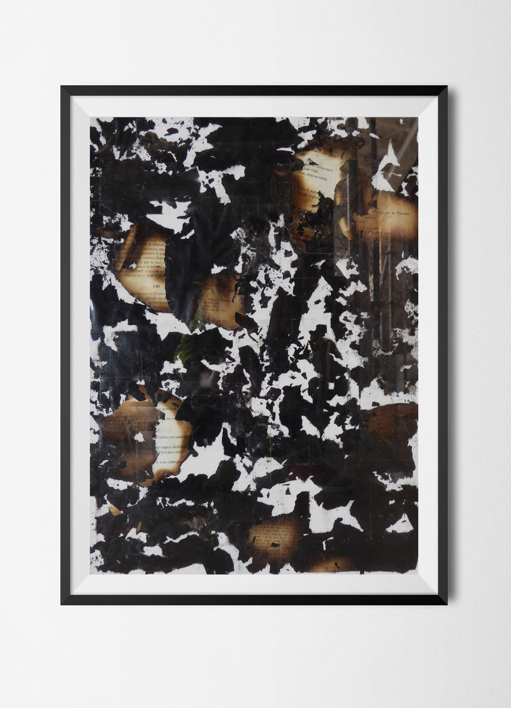 Fragments 4, 2015 Burnt papers and tape on paper 42 x 29,7 cm Signed at the back