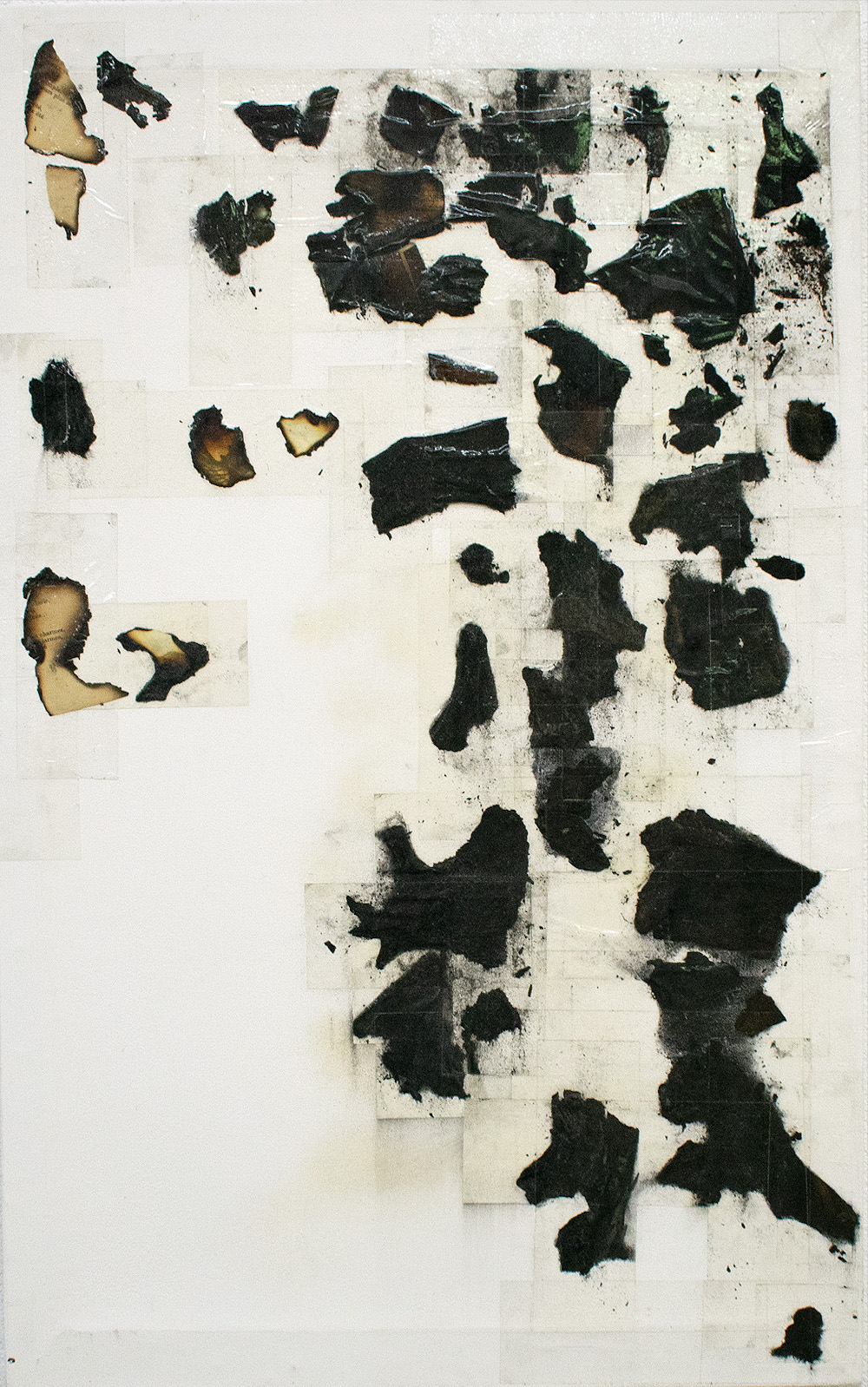 Composition 9, 2015-2017 Burnt paper, ashes and tape 67 x 43 cm Signed at the back