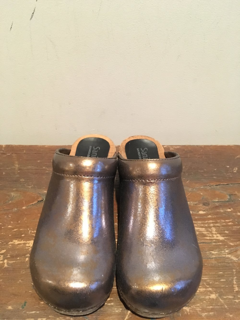 Wooden/Leather clogs refinished with a bronze and silver sparkle mix.