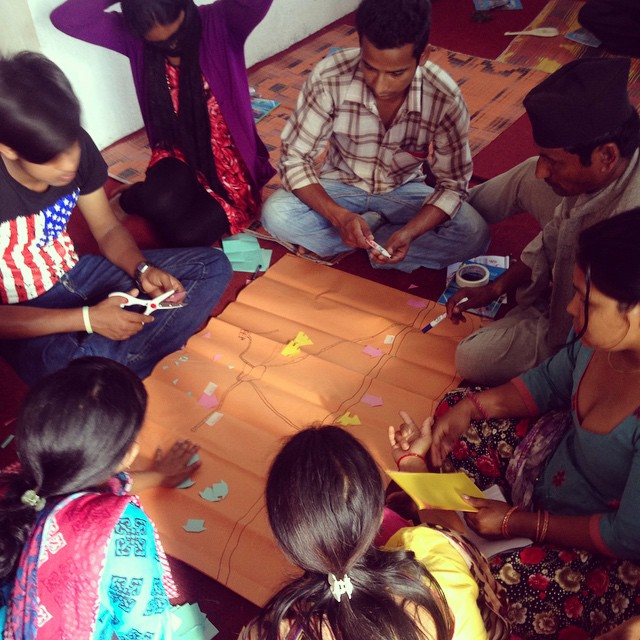Day 1 of #ParticipatoryRuralAppraisal  (#PRA) training today! Our future leaders sectioned off #Karmidanda and mapped their perception of its layout, highlights, opportunities, and areas of improvement. We learned a lot and had a good time doing it :) #NepalEarthquake #ParticipatoryDevelopment #Development #CommunityDriven #CommunityMapping #RebuildKarmidanda #ILoveThis