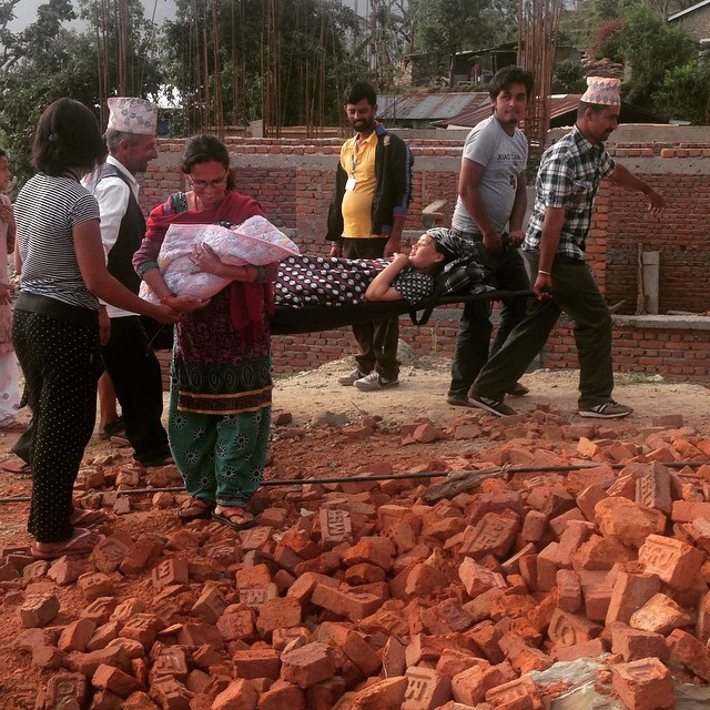 Another 7.3 earthquake in Nepal today. We were all scared, but all are safe. Not much more devastation in #Karmidanda, though that's not true for all of Nepal. This is a pic of a family whose mom was busy delivering her placenta when the quake hit. Mom and baby safe and healthy :) #NepalEarthquake #PartTwo #bhukumpa #enoughalready #giveusabreak #ihateearthquakes #ilovenepal
