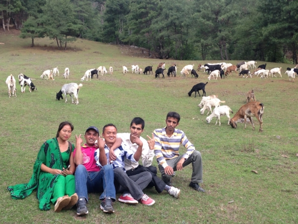 Here's some of Share Nepal's most talented and silly on a little exploration trip we took to learn about goat farming.