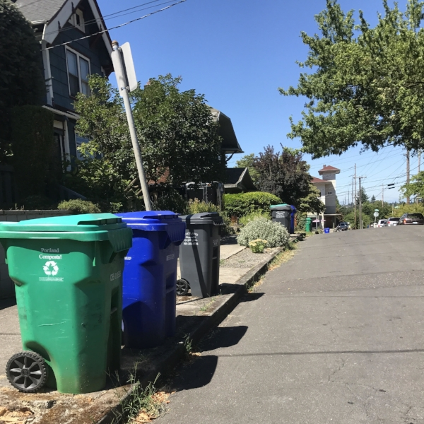 Today just happened to be garbage day in Portland.  This is the life!