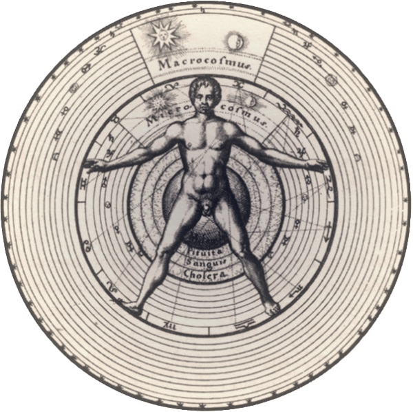 This illustration from a 16th century physician and polymath named Robert Fludd depicts man as microcosm inside of the universe as macrcosm.