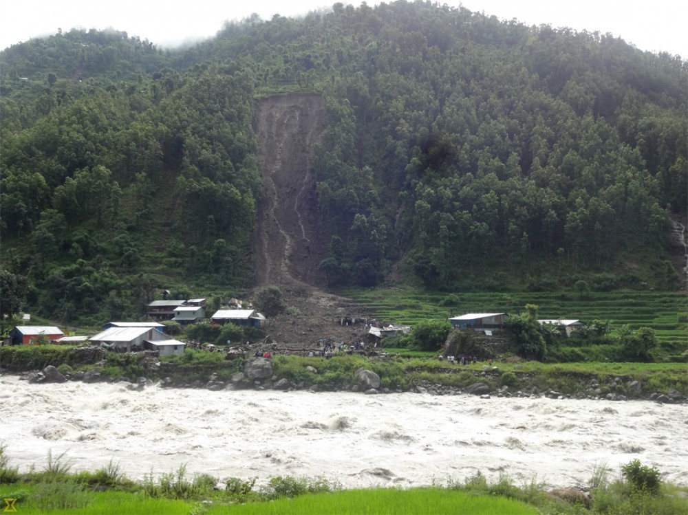 Photograph of the August 7 landslide in ParticipAid's working area in Rasuwa District, Nepal.