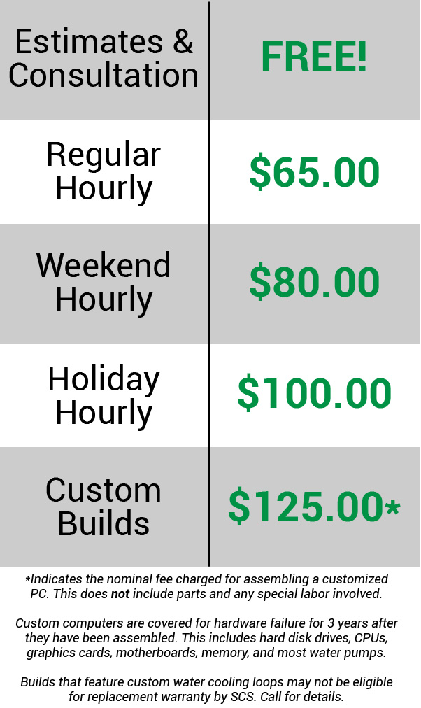 By scheduling service you agree to paying a base price of $65 per hour. This may sound like a lot, but I can assure you that your dollar goes a long way. SCS is not affiliated with any other company, so you can expect a truly honest and personalized experience when using any of my services. To make things even more convenient, I am fully mobile and can accept cash, check or credit card.