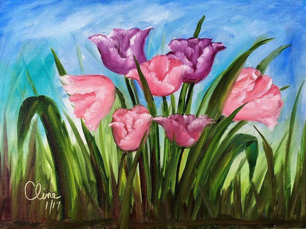 """Pink and Purple Tulips"""