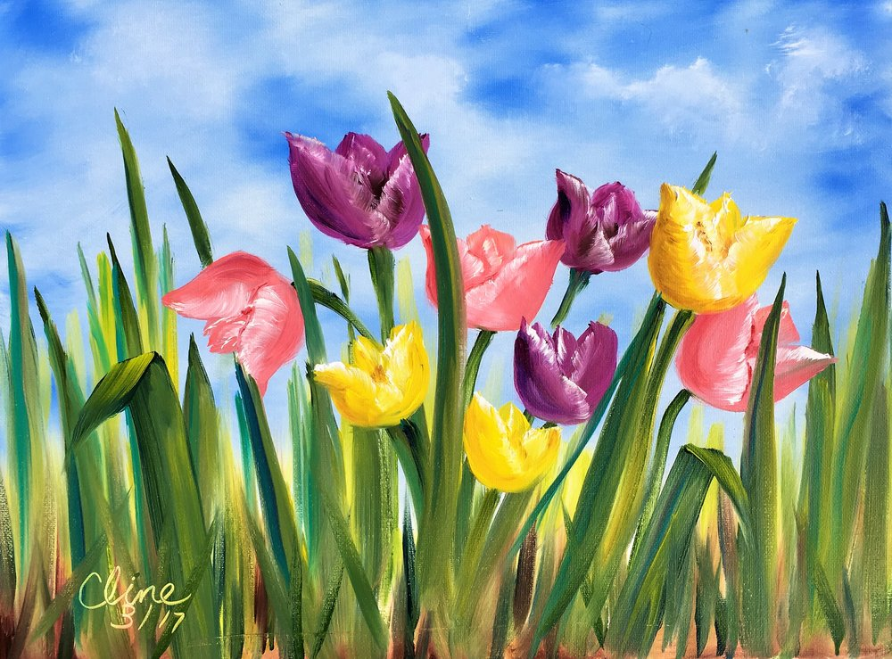 """""""Pink, Purple and Yellow Tulips"""""""