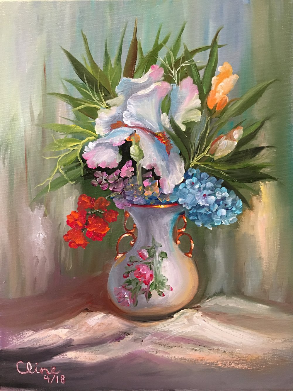 Iris in a Painted Vase