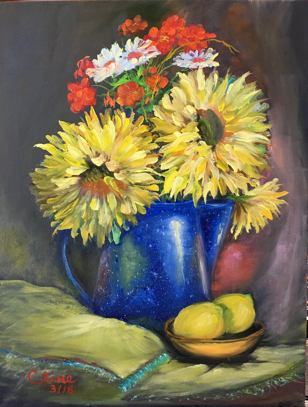 Sunflowers in a Blue Tin Vase