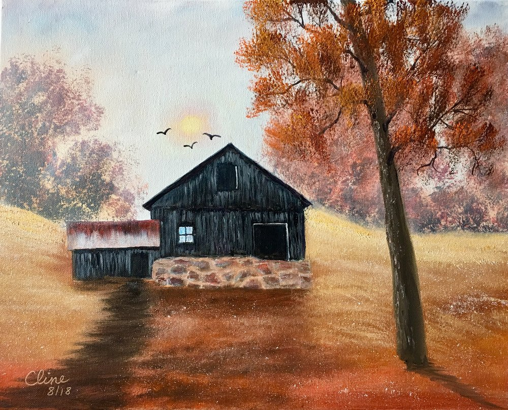 """Misty Autumn Barn"""