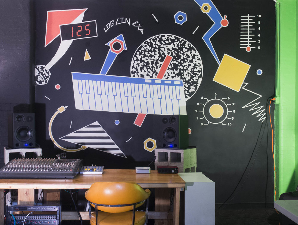 Mural for a music studio inspired by 80s synth design