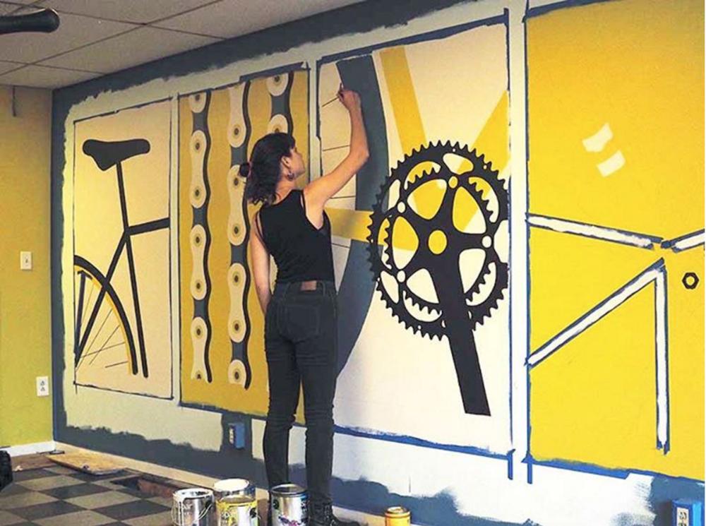 Mural for the Boston Cyclists Union's community bike repair shop in Roxbury, MA.
