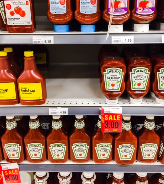 Today at Zehrs in Uxbridge. French's gone and Heinz on sale. Huh. When you see it, buy it.