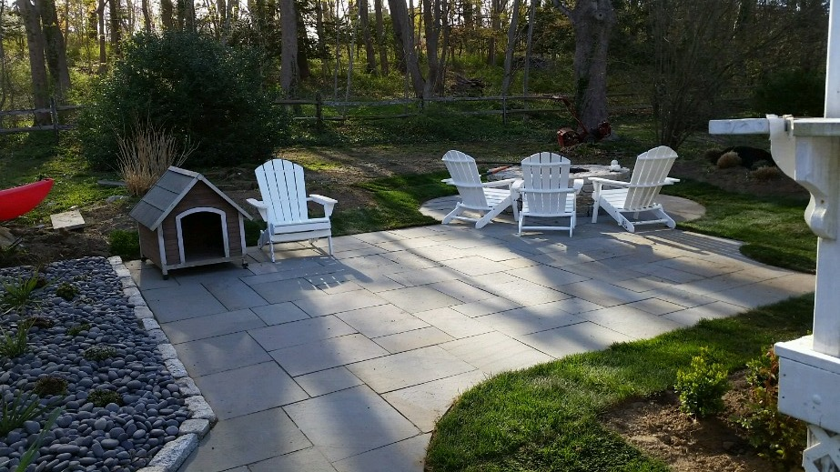 """New Outdoor Living, in New London""  Firepit and Blue stone walkway, and patio"