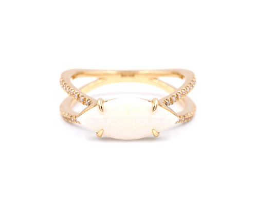 Marquise Opal Double Band Ring — EVERETT