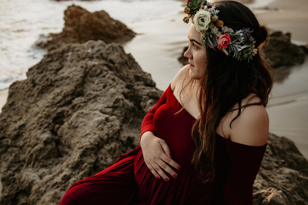 photographer bre thurston | san francisco bay area california | lifestyle maternity photography | outdoors on location beach mermaid flower crown and sunset shoot