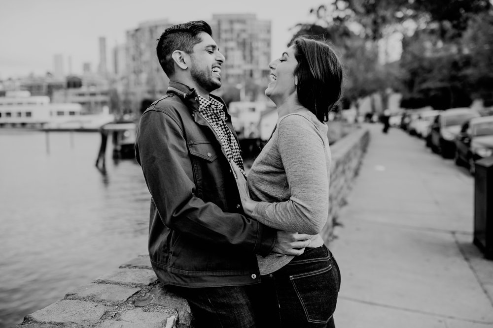 bre thurston photography | san francisco bay area wedding engagement photographer | engaged couple photo session in city, foggy forest, stormy beach, red dress