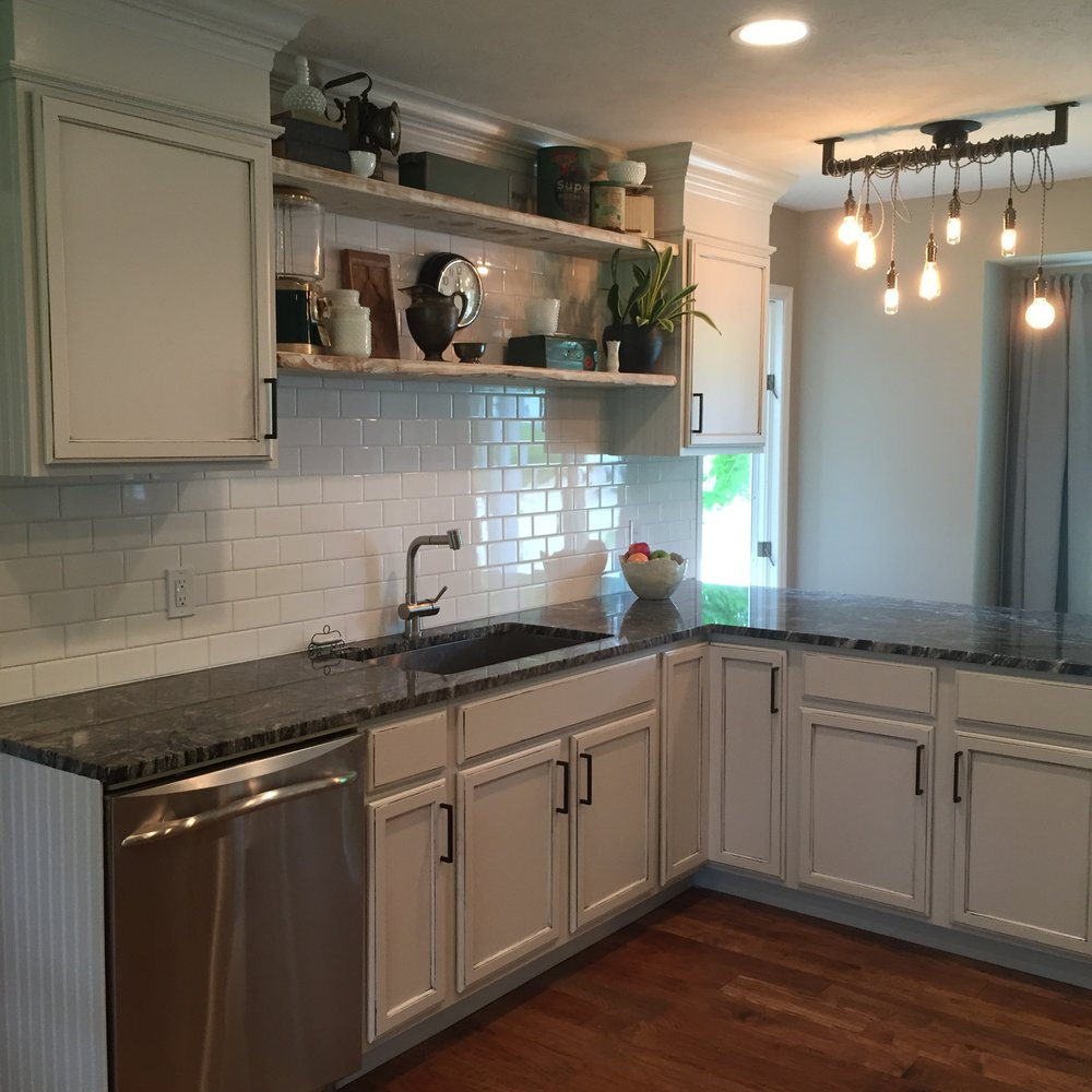 After - Kitchen sink and island area