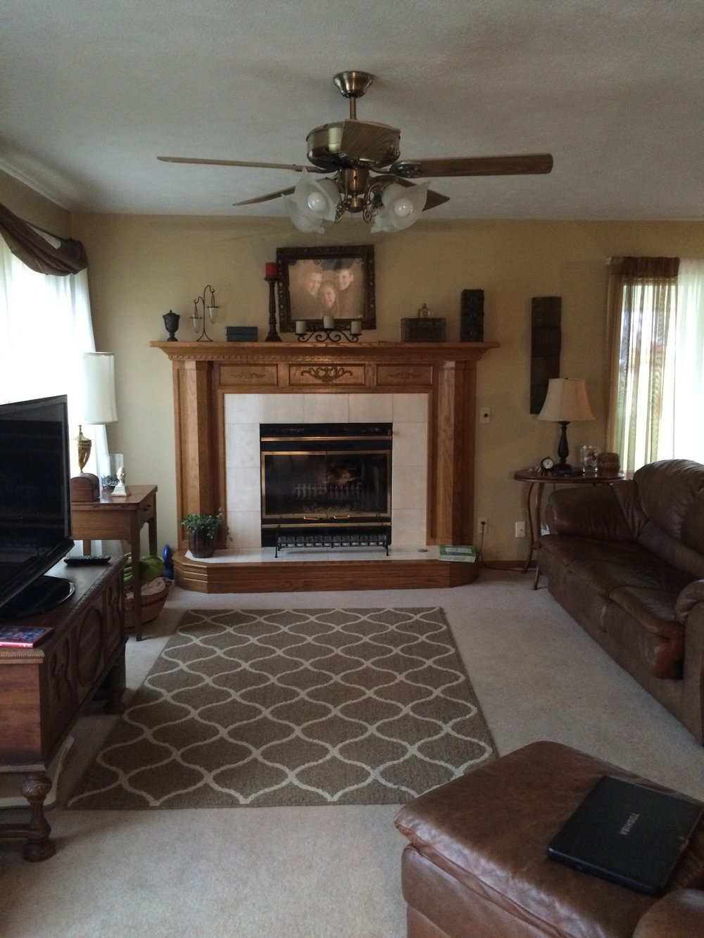 Before - Living room fireplace wall