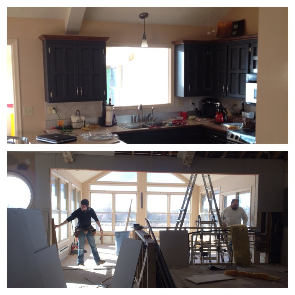 Before and After - Widening the open between the kitchen and the sun room was crucial to the design.