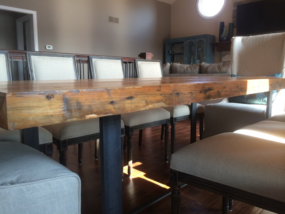 Check out these old, thick beams Cody found and created a custom table out of them for our clients new dining room.