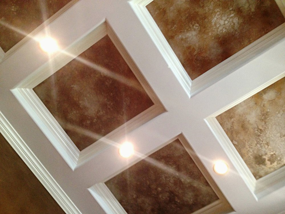 Custom ceiling inserts Cody created or the music room.