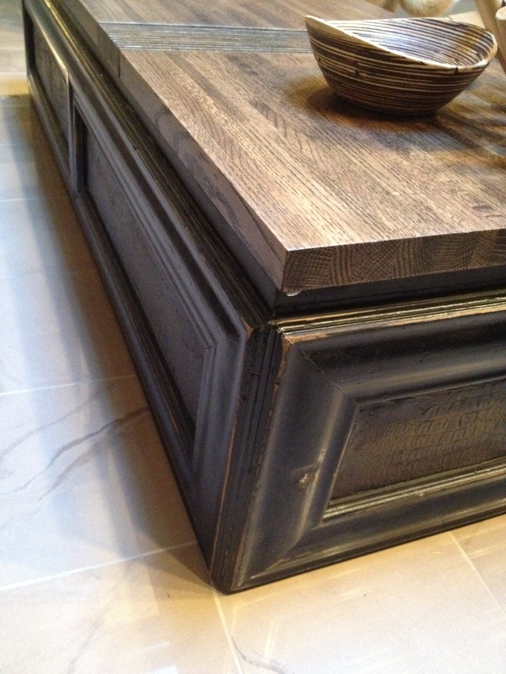 Vintage chest gets a new life as a coffee table.