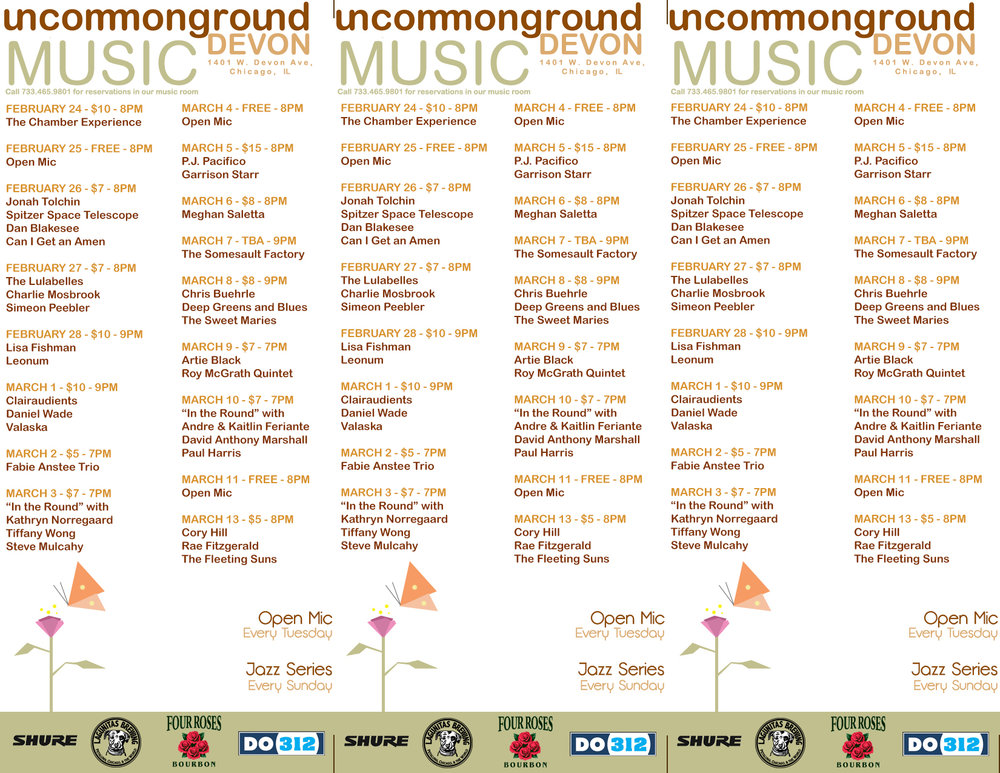 Uncommon Ground Calendar Menu Insert (Changed and Updated Monthly)  | Laser Jet Print