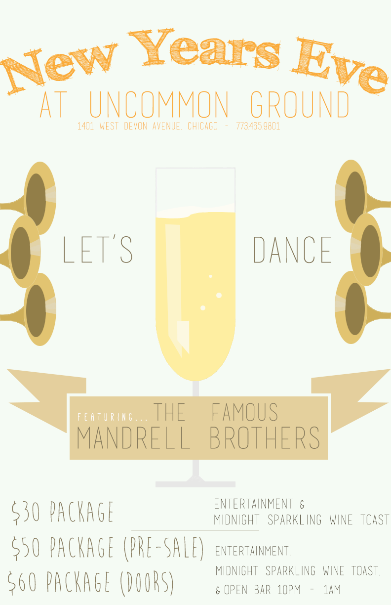 NYE Party Poster for Uncommon Ground    | Laser Jet Print & Web Use