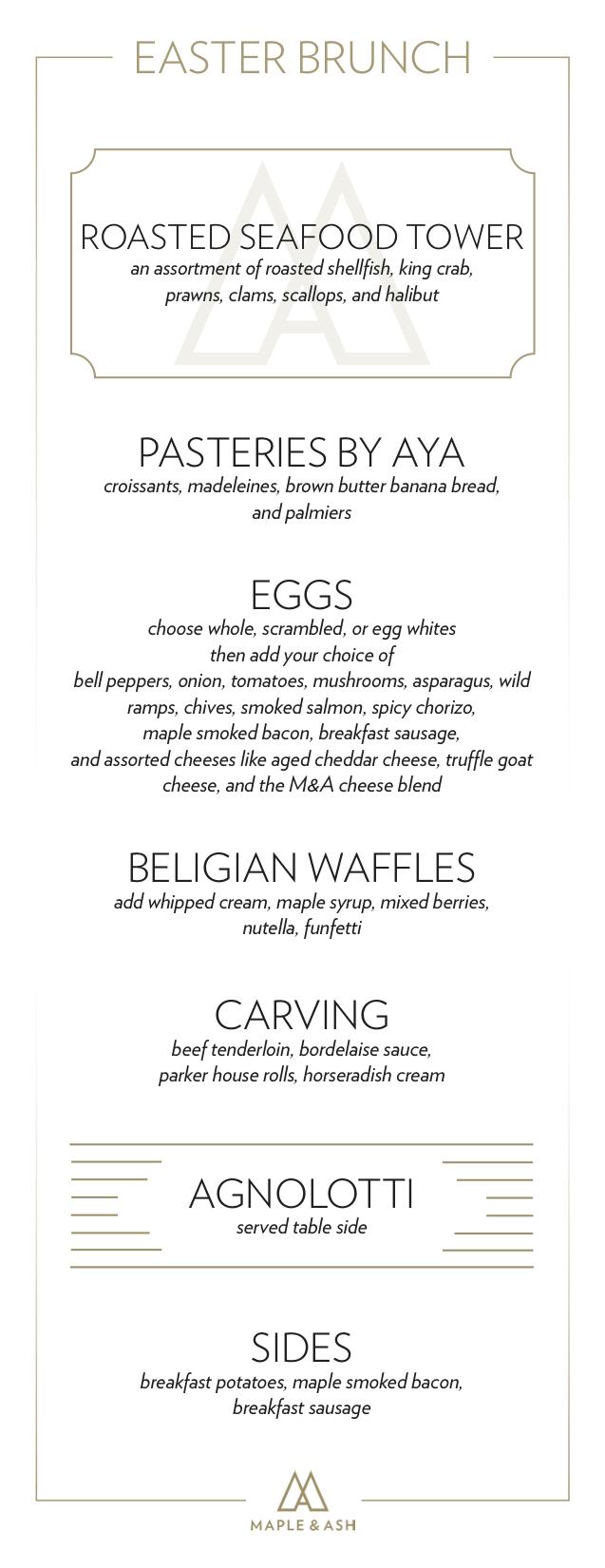 Easter Brunch Menu for Maple & Ash Restaurant