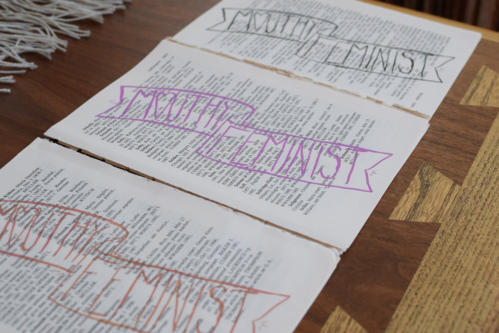 Mouthy Feminist | Silk Screen on Recycled Textbook Paper