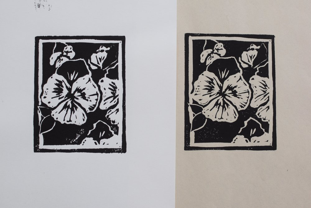 Pansies | Linocut on Archival Paper and Newsprint