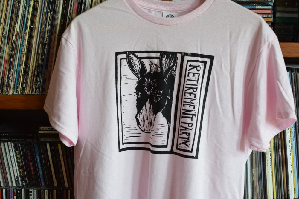 Retirement Party Shirt Design | Linocut and Print done by Charlotte Gasparetti Ribar, Applied to Shirt by Local Printer