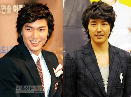 左邊是飾演具俊表的李敏鎬,右邊是被稱作中年李敏鎬或中年具俊表的尹尚賢
