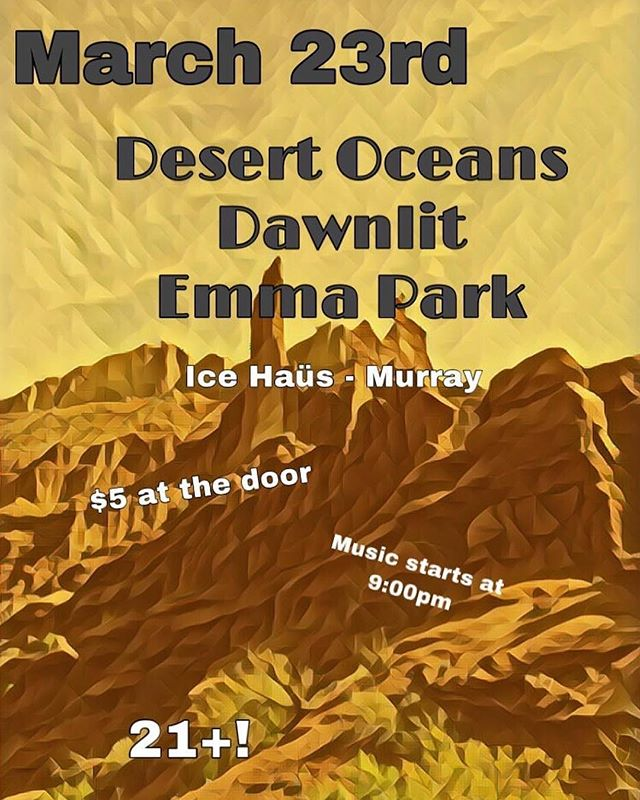We're excited to share the stage with @desertoceansband and @emmaparkmusic at the @icehausbar on March 23rd! Entry is just $5! Be there! #nosinger #slcisrad #utahisrad #postrockdiscovery #postrockmusic #dawnlit #progressiverock #progressivemetal #postrockband #instrumental #instrumentalmusic #instrumentalrock #desertoceans #emmapark #progrock #progrockband