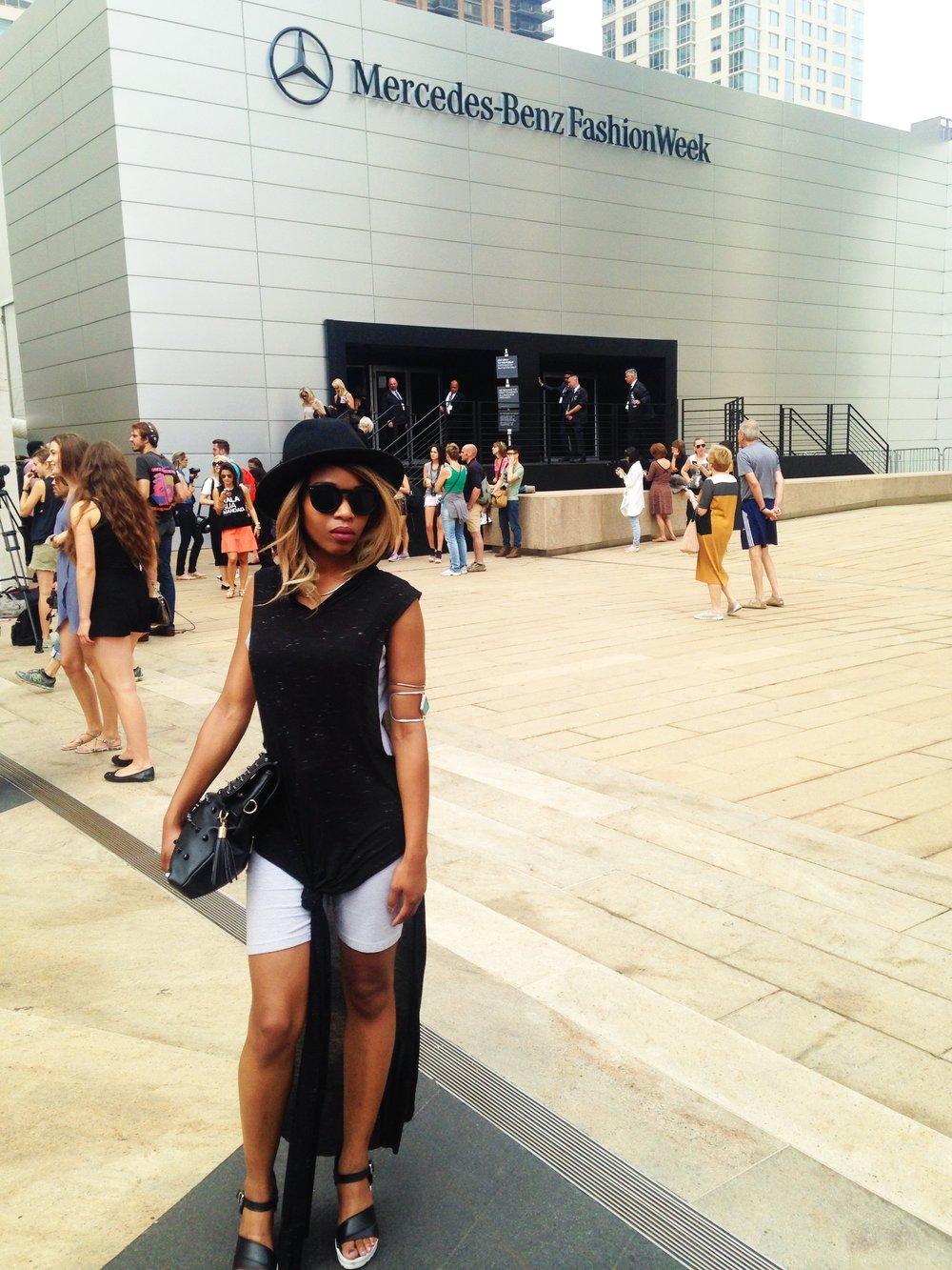 Photo taken outside Lincoln Center where the Mercedes Benz Fashion Week was held.