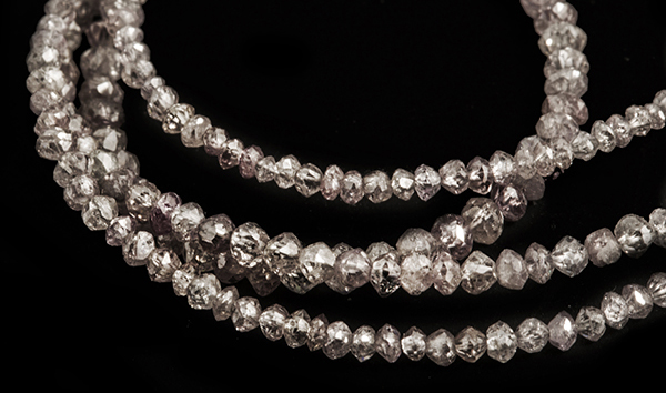 Rare fancy pink Australian facetted diamonds in a neck collier.