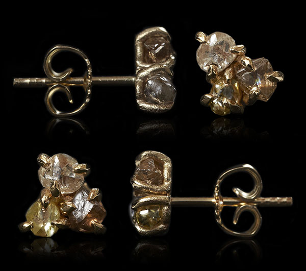 Three different coloured raw diamonds clustered for gold earrings.