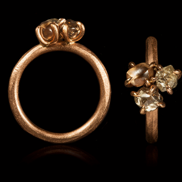 2.45 ct. Natural Light Brown, Champagne and Greyish Rough Diamonds in 14K Handcrafted Rose Gold Ring