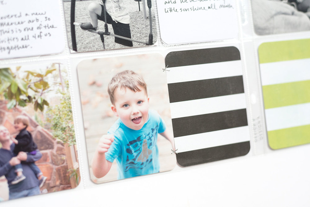 Project Life Tip: Think inside the box and staple two cards together in a 4x6 pocket.