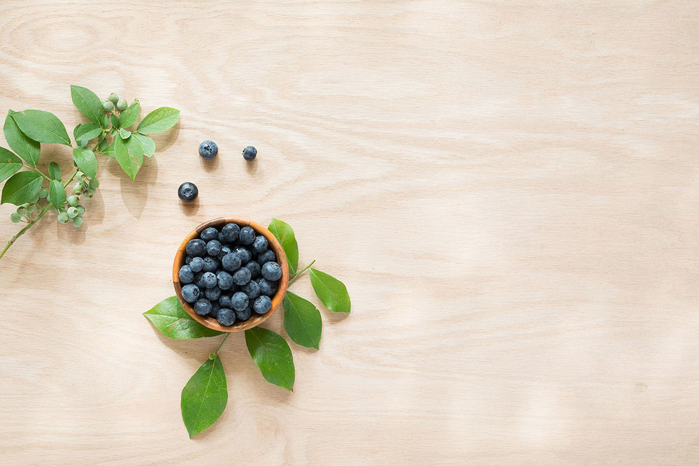 DL Styled Stock Imagery | Blueberries on Wooden Countertop