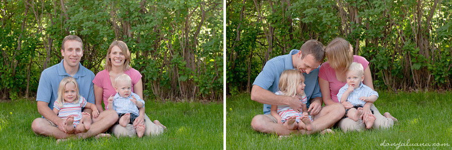 Fun Northfield Family Poses in Backyard for Portraits