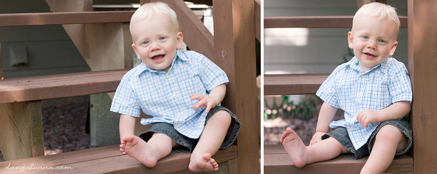 Little boy sits on stairs for family portraits of eagan backyard